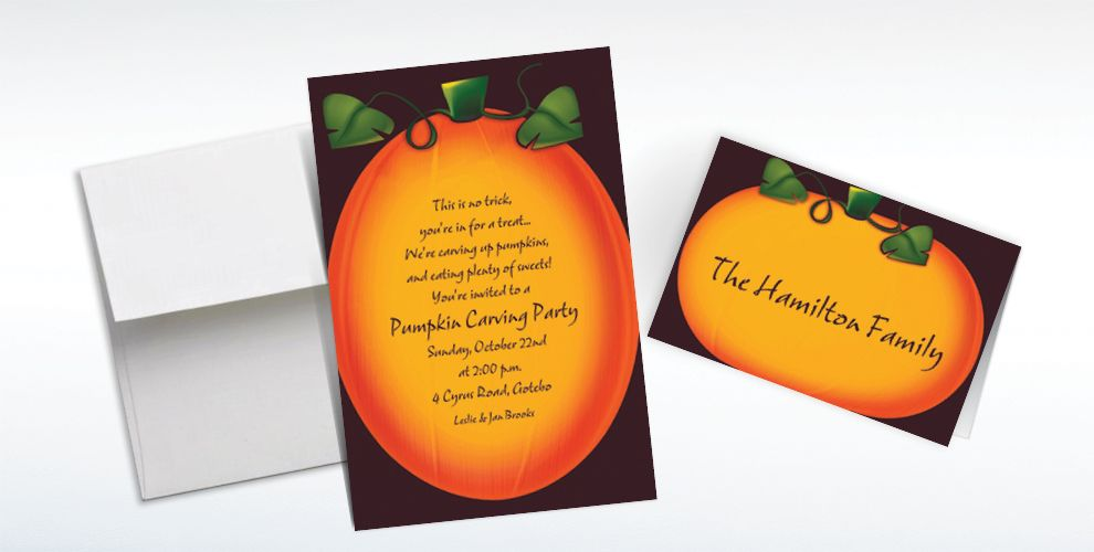 Custom Pumpkin Glow Halloween Invitations and Thank You Notes