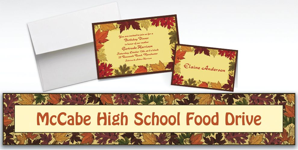Custom Autumn Medley Invitations and Thank You Notes