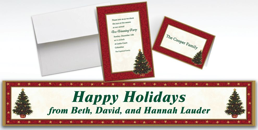Custom Classic Christmas Tree Invitations and Thank You Notes