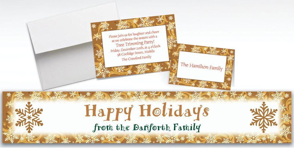 Custom Elegant Gold Christmas Invitations and Thank You Notes