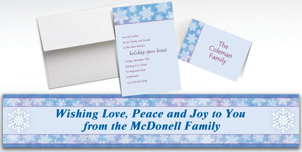 Custom Snowy Breeze Invitations and Thank You Notes