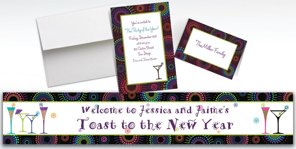 Custom Countdown Cocktails New Year's Invitations and Thank You Notes