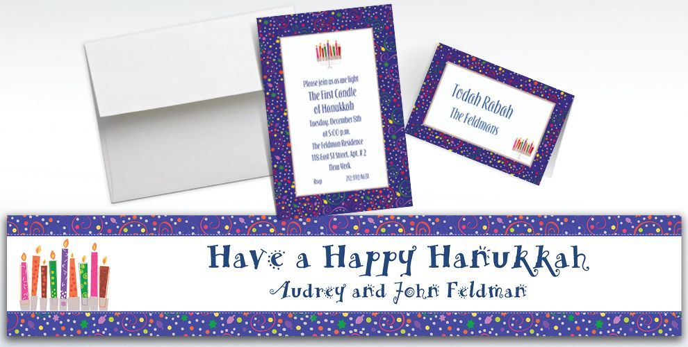 Custom Hanukkah Playful Menorah Invitations and Thank You Notes