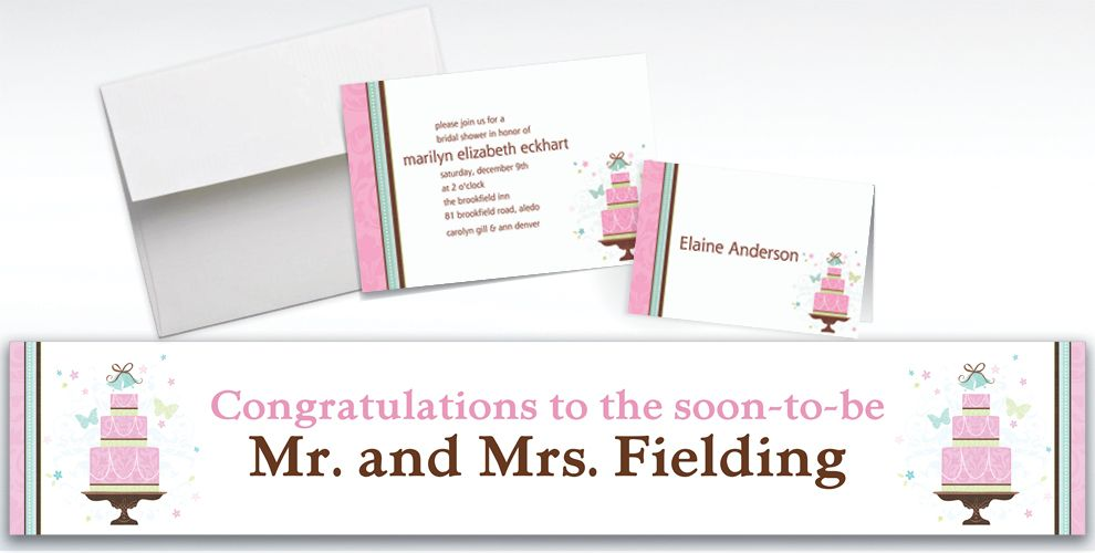 Custom Blushing Bride Bridal Shower Invitations and Thank You Notes