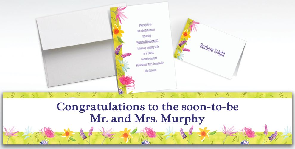 Custom Beautiful Blooms Invitations and Thank You Notes