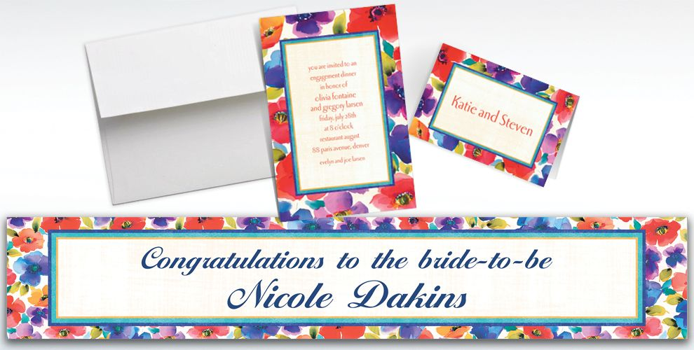 Custom Poppy Collage Invitations and Thank You Notes