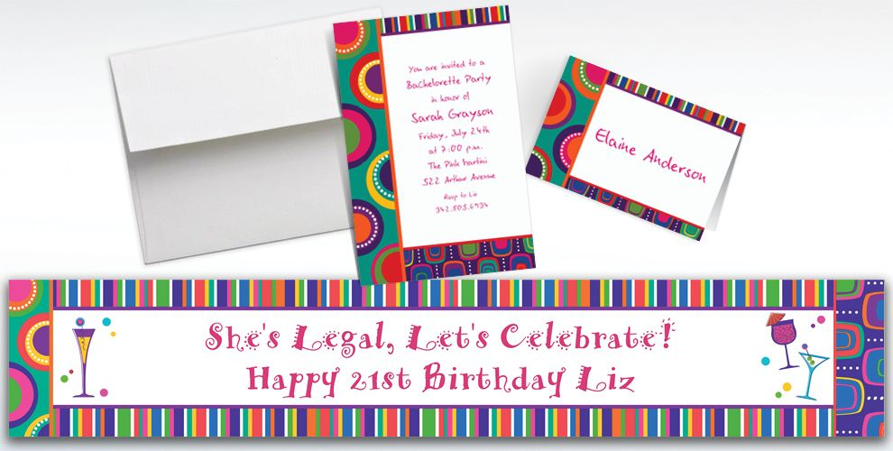 Custom Cocktail Chic Invitations and Thank You Notes