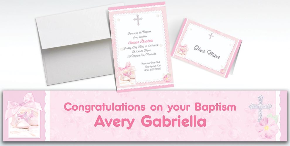 Custom Tiny Blessing Pink Invitations and Thank You Notes