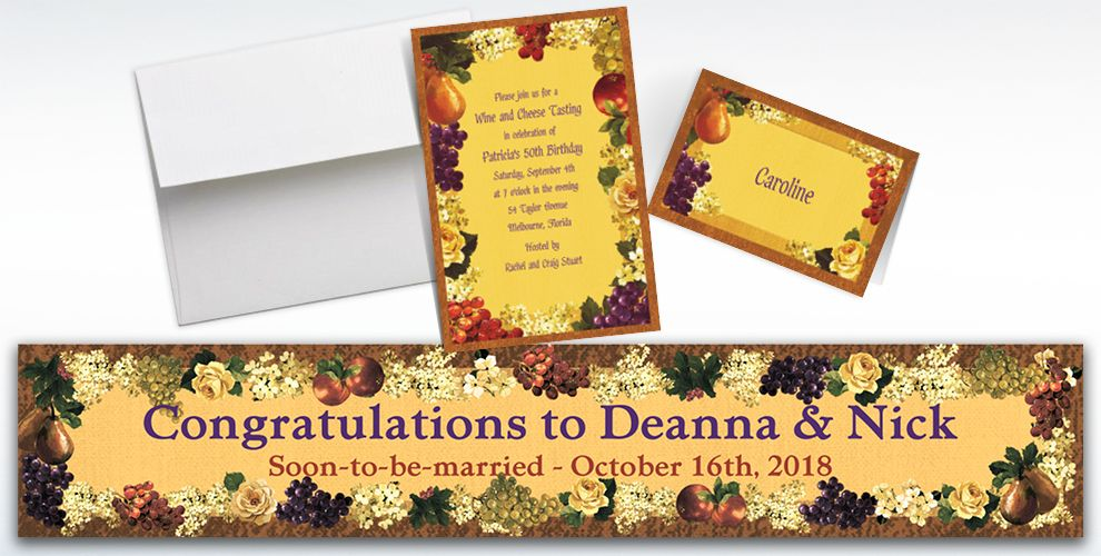 Custom Golden Orchard Invitations and Thank You Notes