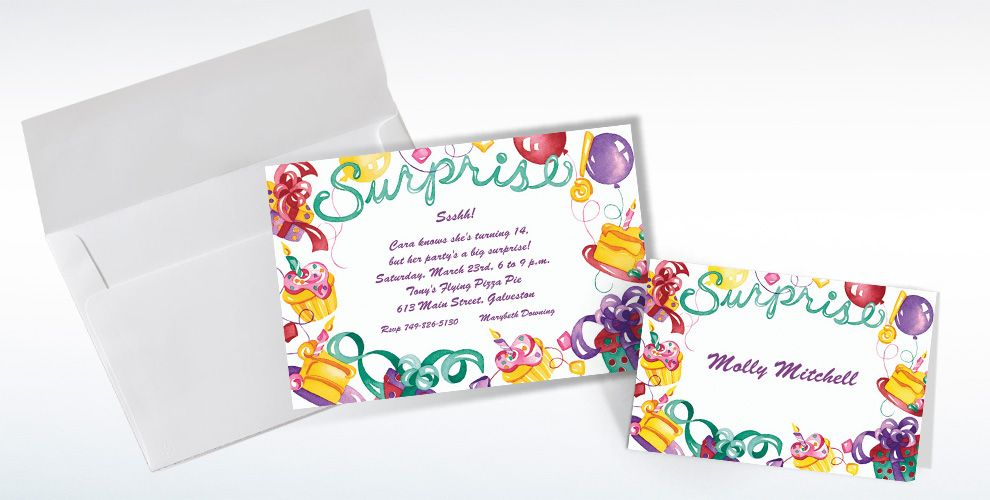 Custom Surprise with Gifts and Cakes Invitations and Thank You Notes