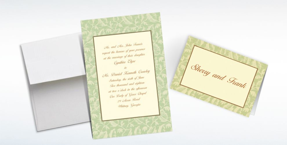Custom Sage Damask Ecru Invitations and Thank You Notes