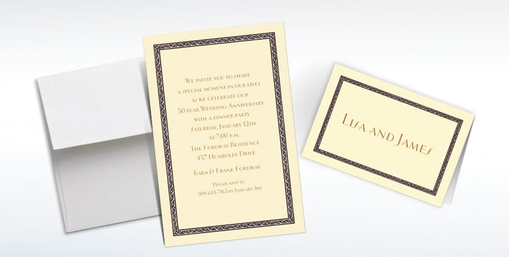 Custom Black Tapestry Border Ecru Invitations and Thank You Notes