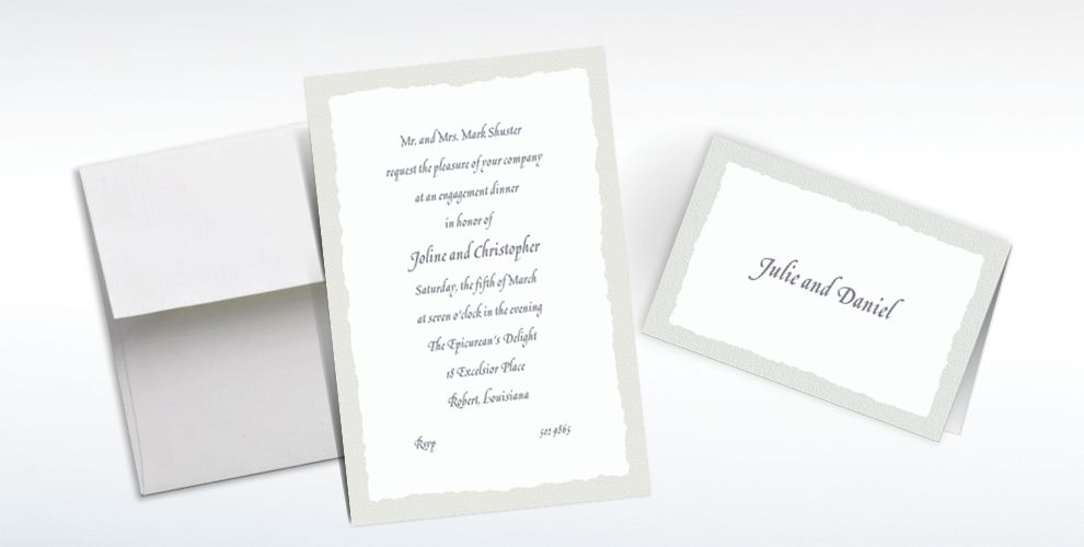 Custom Gray Deckle Edge Invitations and Thank You Notes