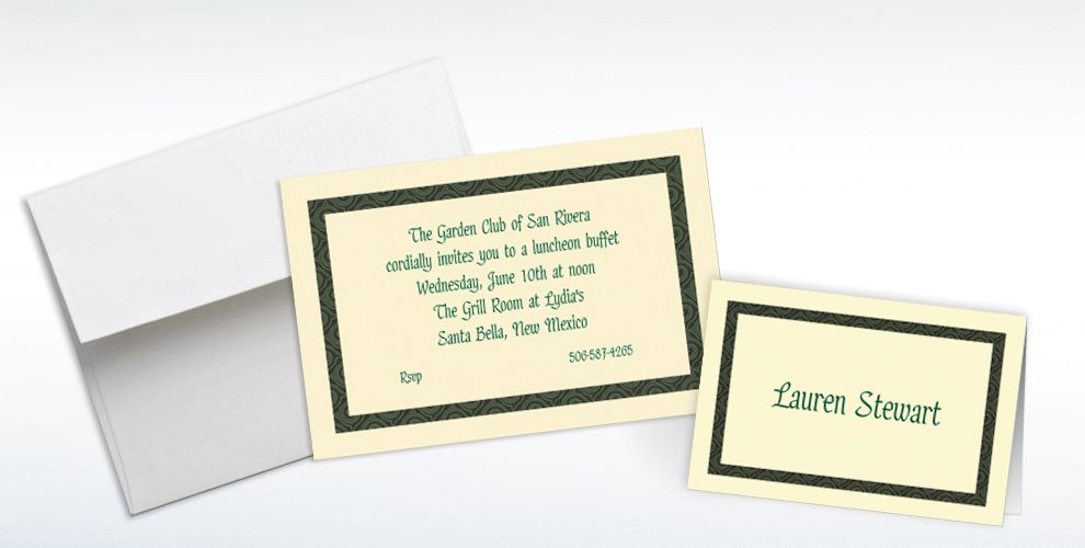 Custom Green Moroccan Border Ecru Invitations and Thank You Notes