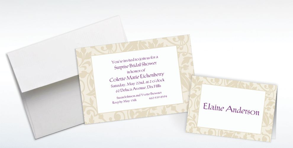 Custom Taupe Damask Border Invitations and Thank You Notes