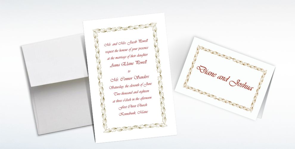 Custom Gold Leaf Scroll Invitations and Thank You Notes