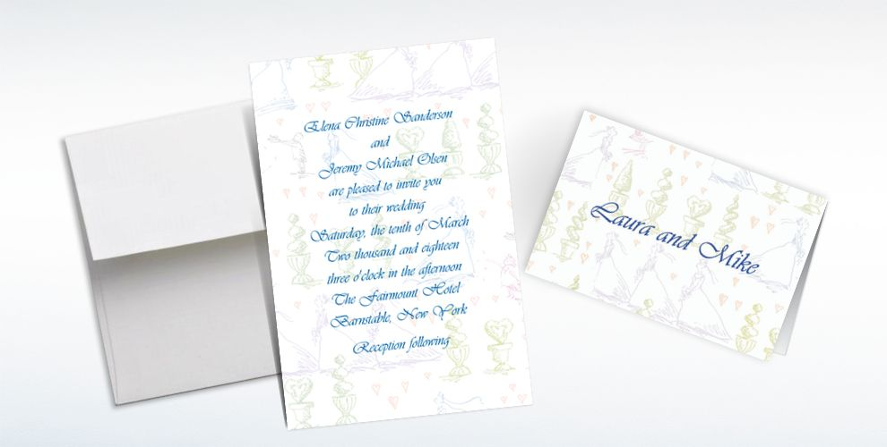 Custom Wedding Procession Toile Wedding Invitations and Thank You Notes