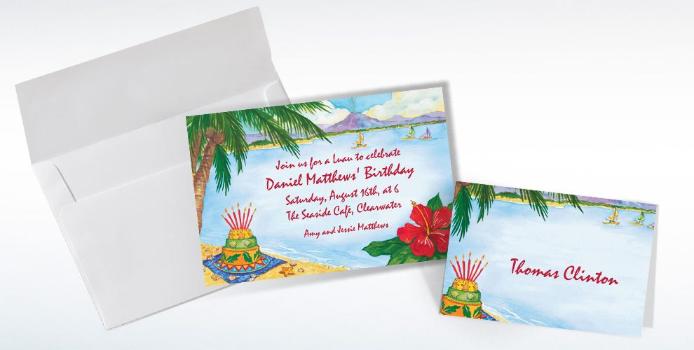 Custom Luau Birthday Invitations and Thank You Notes
