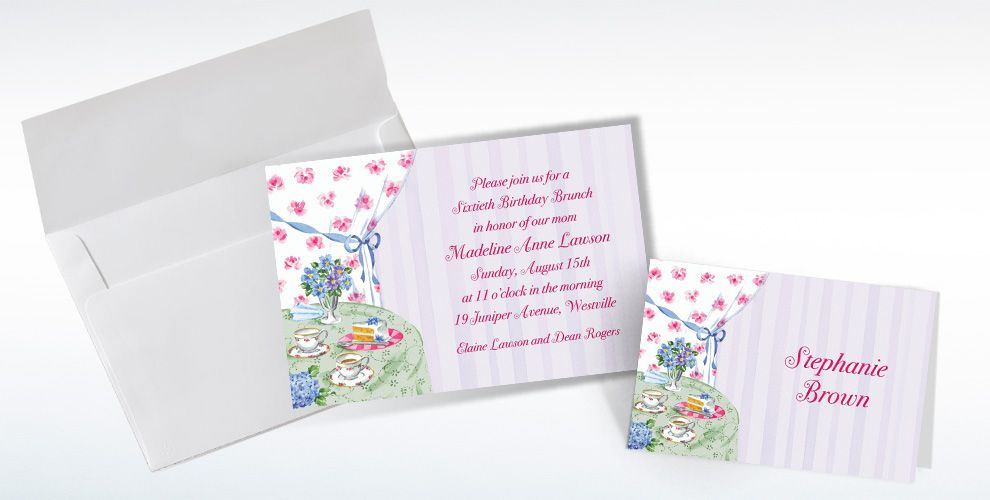 Custom Birthday Tea Invitations and Thank You Notes
