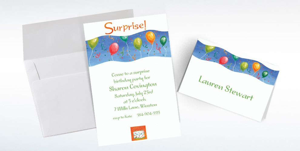 Custom Surprise with Balloons Invitations and Thank You Notes