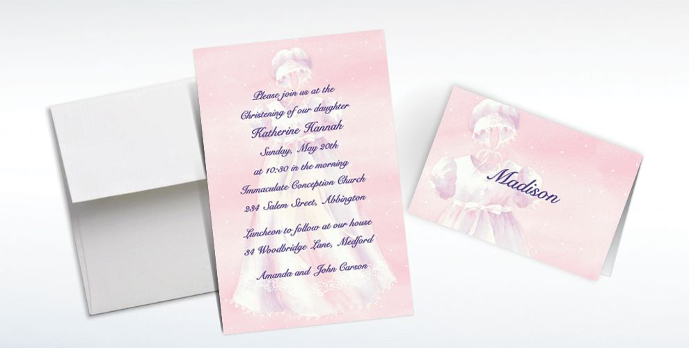 Custom White Gown on Pink Invitations and Thank You Notes