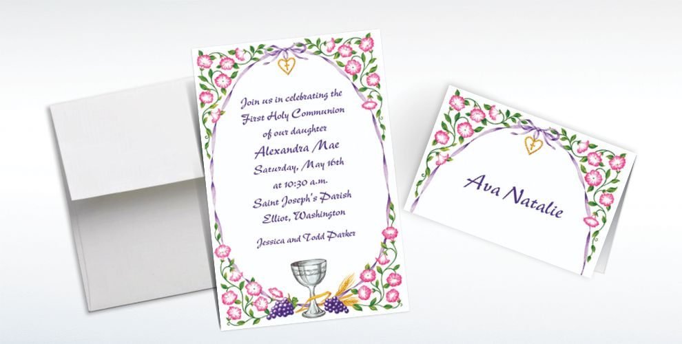 Custom Chalice with Ribbon and Charm Invitations and Thank You Notes