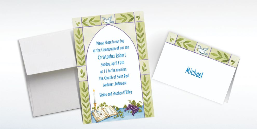 Custom Communion Book with Rosary Invitations and Thank You Notes