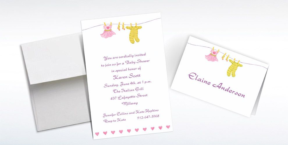 Custom Little Laundry Baby Shower Invitations and Thank You Notes