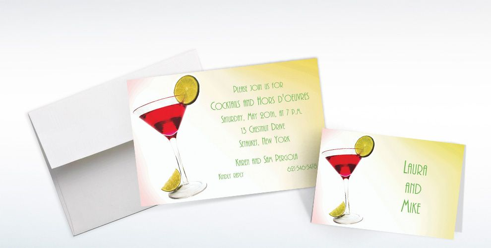Custom Cosmopolitan Invitations and Thank You Notes