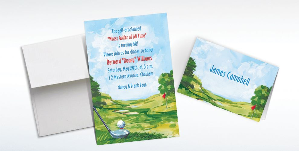 Custom Golf Course Landscape Invitations and Thank You Notes