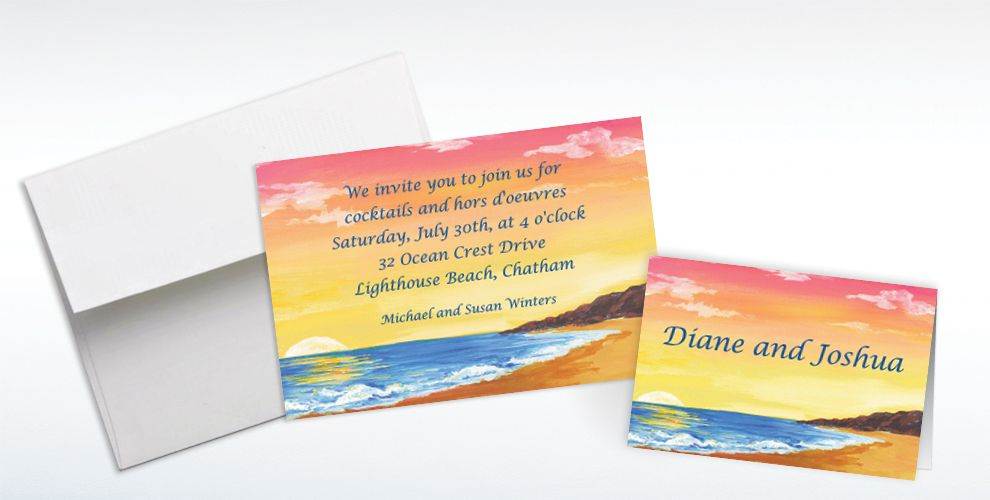 Custom Sunset on the Beach Invitations and Thank You Notes