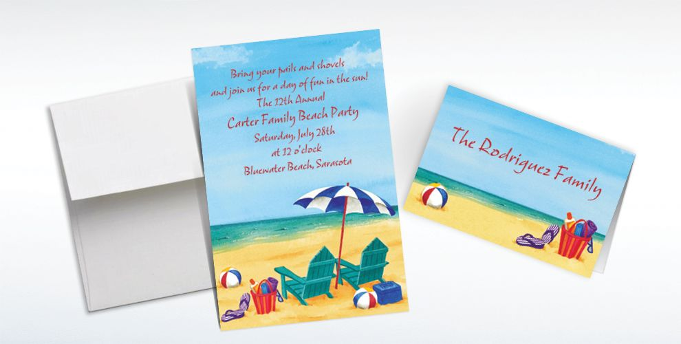 Custom Day at the Beach Summer Invitations and Thank You Notes