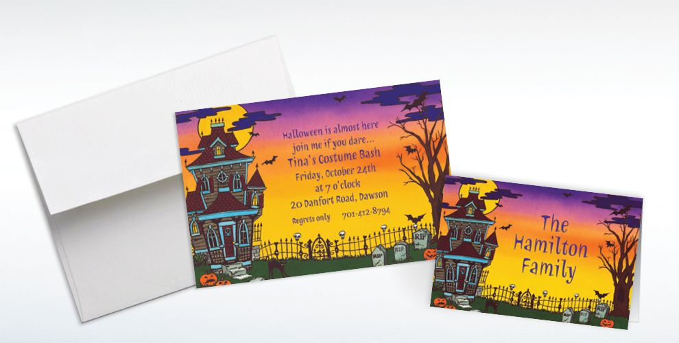 Custom Haunted House Halloween Invitations and Thank You Notes