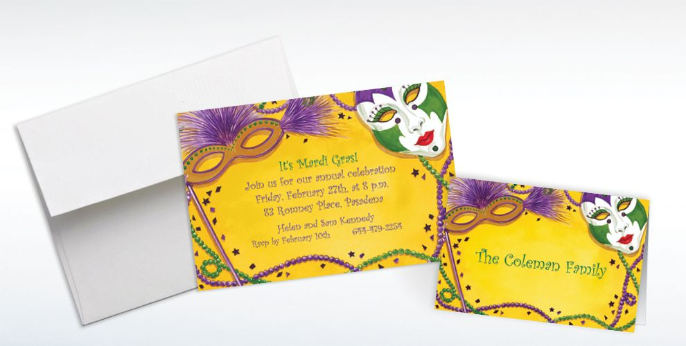 Custom Mardi Gras Masks Invitations and Thank You Notes