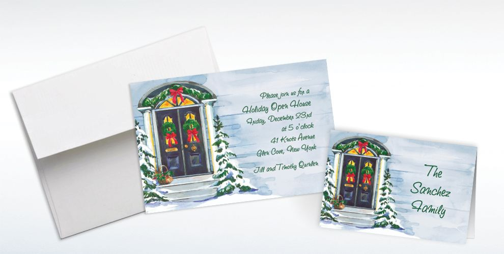 Custom Christmas Front Door Invitations and Thank You Notes
