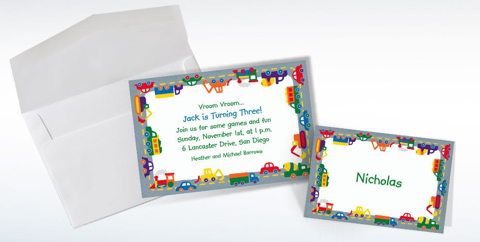 Custom Trucks & Cars Invitations & Thank You Notes