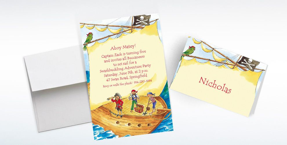 Custom Pirate Ship with Flag Invitations and Thank You Notes