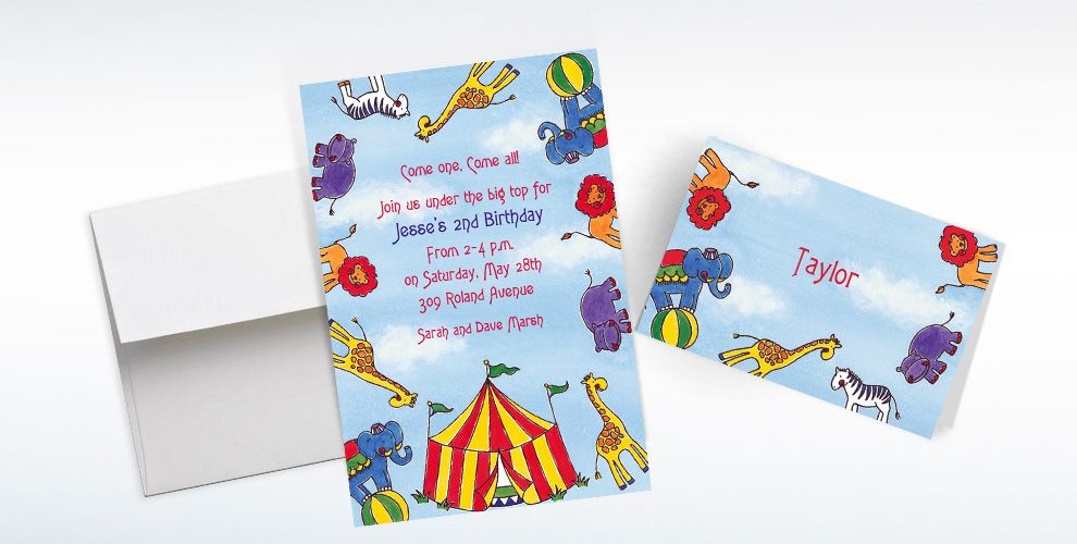 Custom Flying Circus Invitations and Thank You Notes