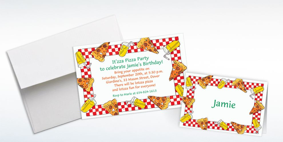 Custom Pizza Party Border Invitations and Thank You Notes
