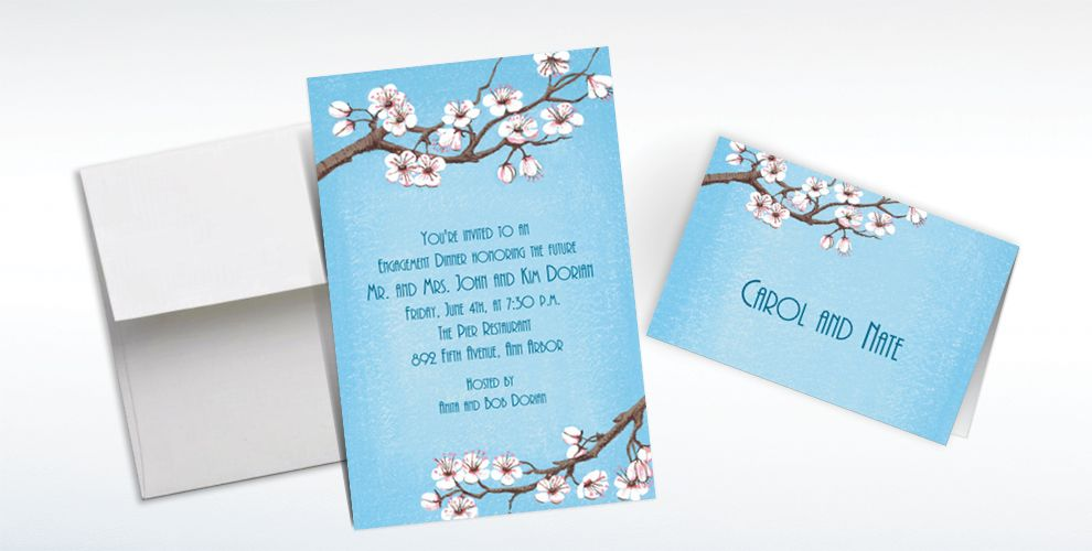 Custom Pink Cherry Blossoms Invitations and Thank You Notes