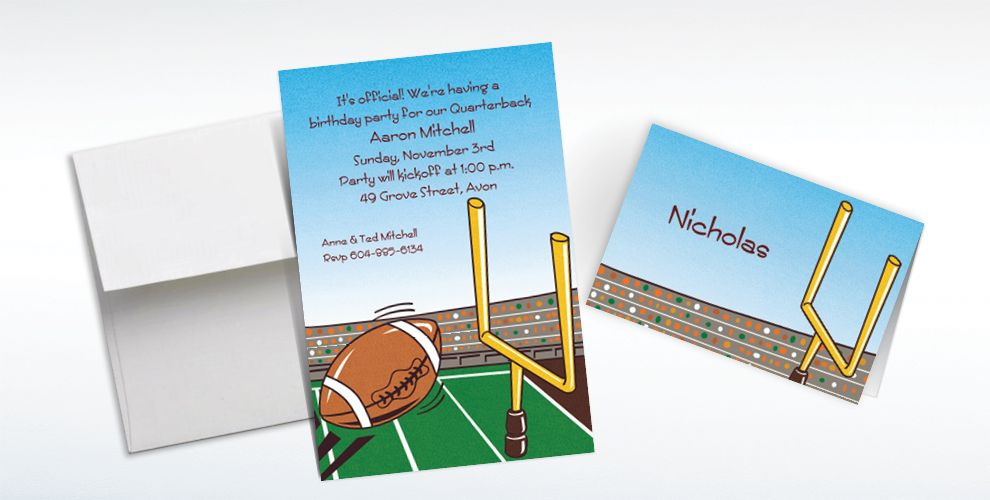 Custom Field Goal Invitations and Thank You Notes