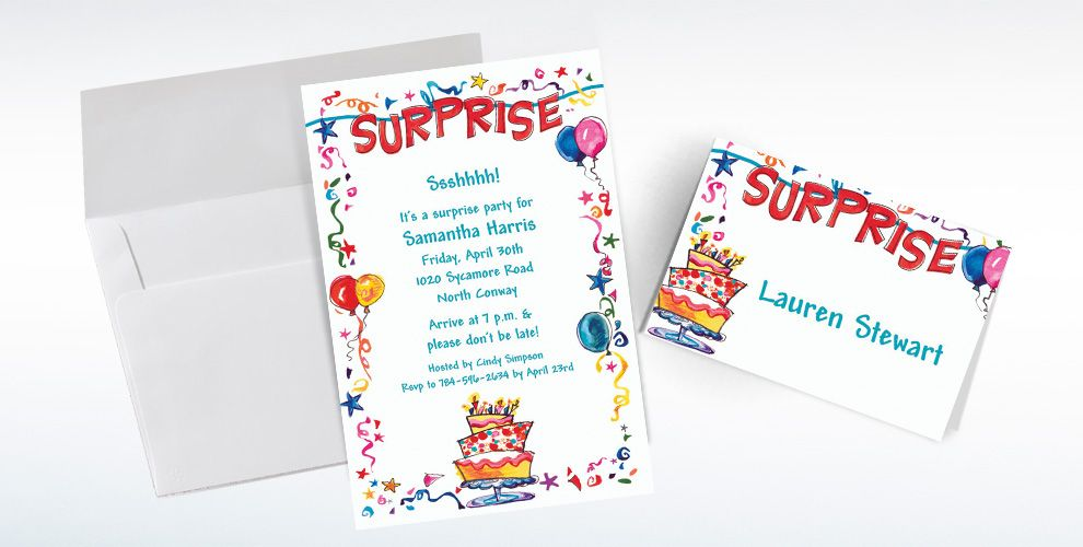 Custom Surprise String Banner Invitations and Thank You Notes