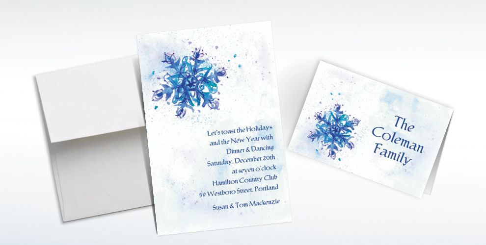 Custom Elegant Snowflake Invitations and Thank You Notes