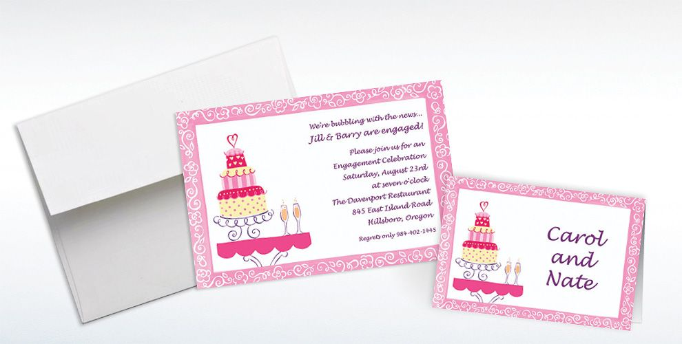 Custom Bridal Shower Cake and Champagne Bridal Shower Invitations and Thank You Notes