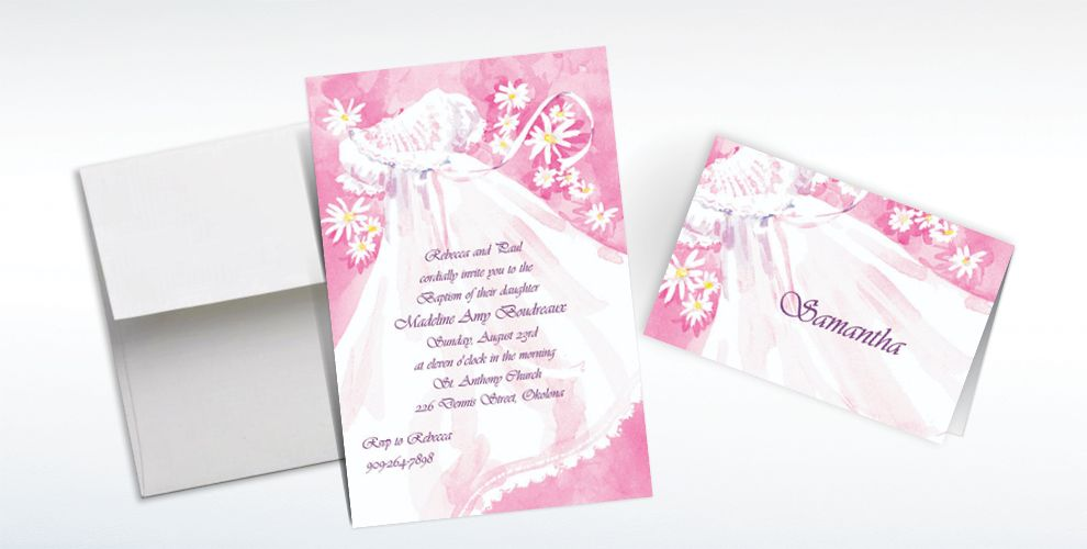 Custom Christening Gown and Flowers Invitations and Thank You Notes