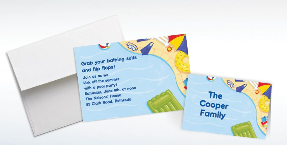 Custom Summer Pool Party Invitations and Thank You Notes