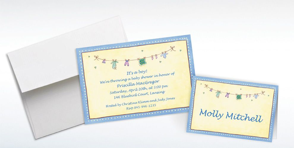 Custom Boy Laundry Baby Shower Invitations and Thank You Notes