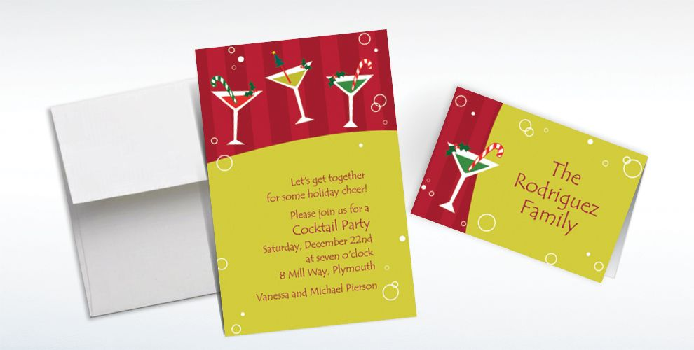 Custom Merry Martinis Christmas Invitations and Thank You Notes