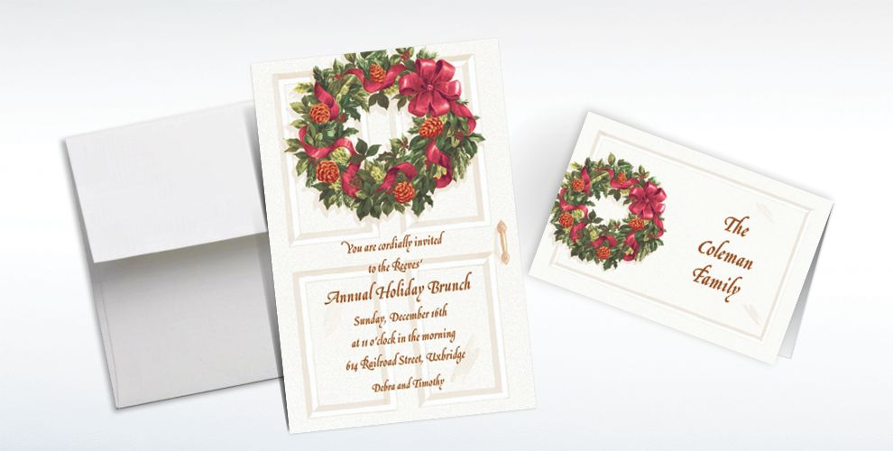 Custom Front Door with Wreath Christmas Invitations and Thank You Notes