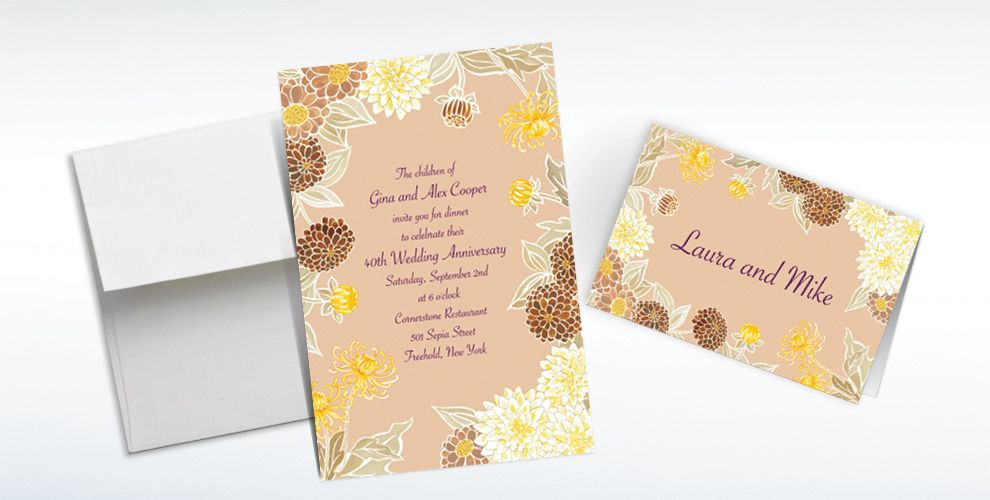 Custom Yellow Zinnias Invitations and Thank You Notes